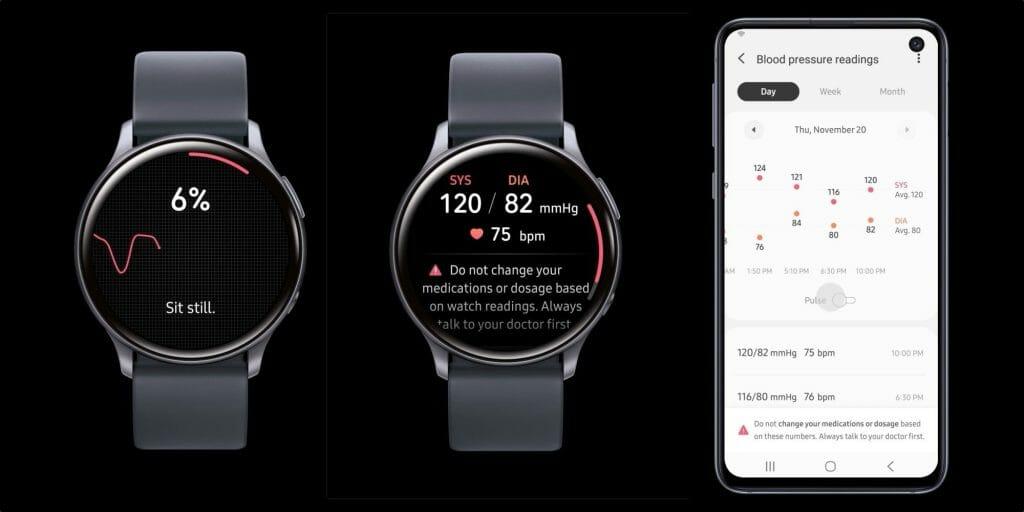 samsung watch active 2 blood pressure