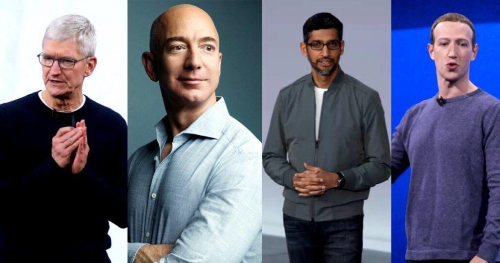 изслушване конгреса Apple Amazon Facebook Google сунар пичай тим кук джеф безос марк зукърбърг