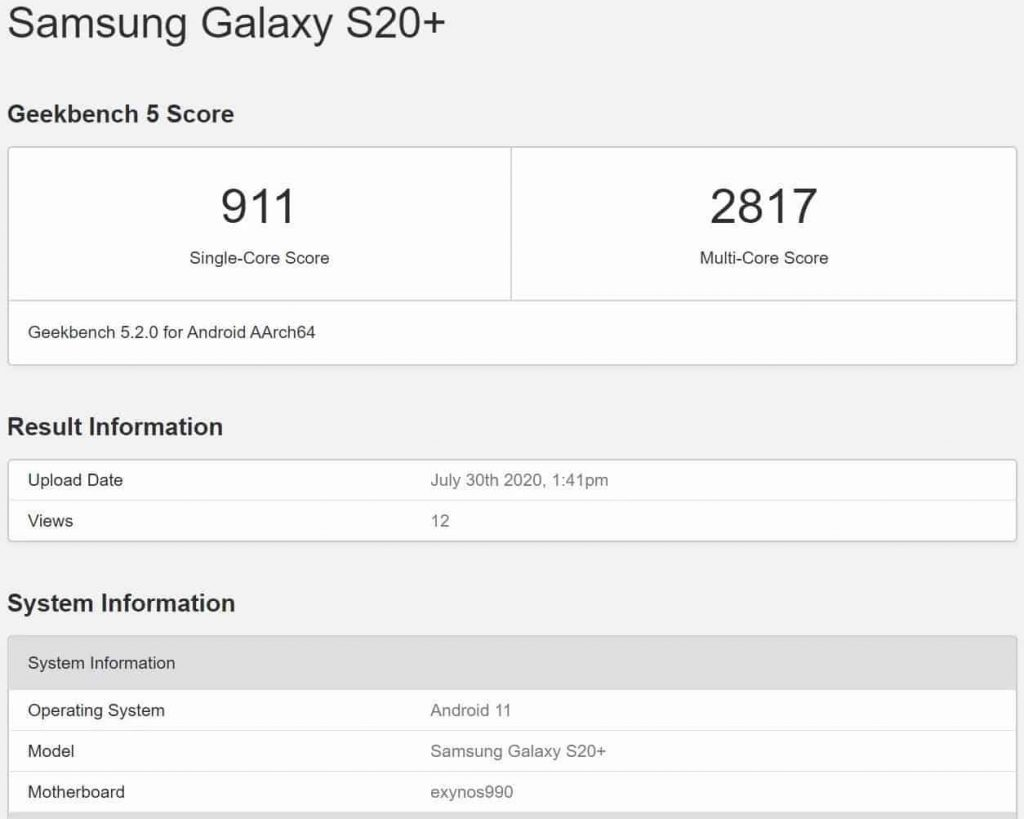 geekbench tetst android 11 samsung One UI 3.0.