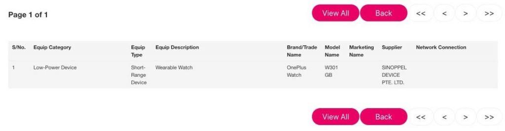 OnePlus Watch е сертифициран в офиса на IMDA в Сингапур с кодовот име - W301GB.