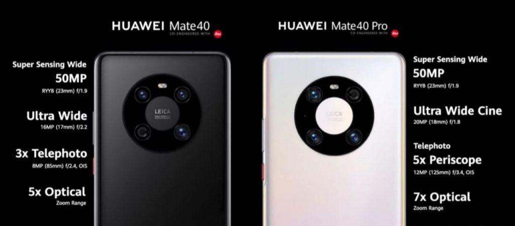 Камери на гърба на Huawei Mate 40 и Mate 40 Pro