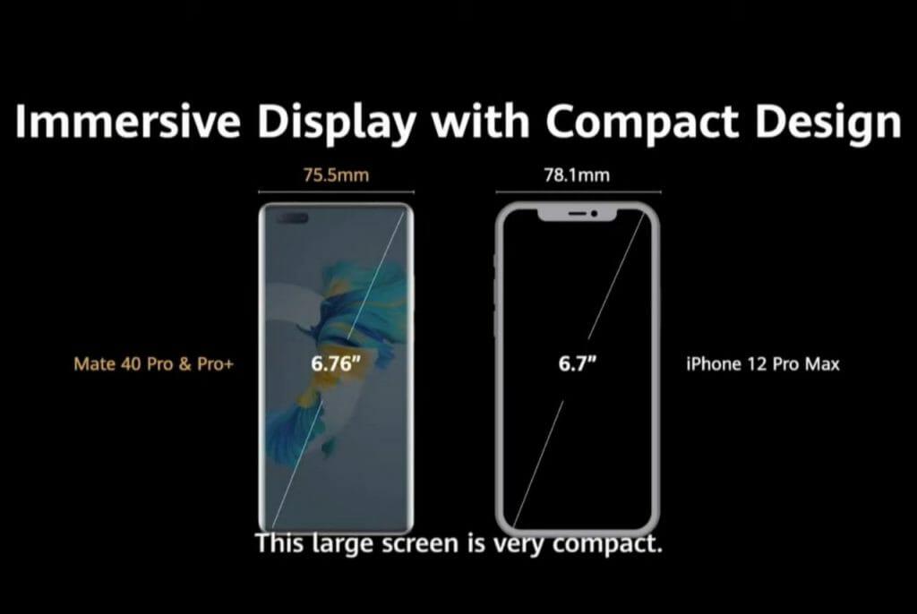 Големина на Huawei Mate 40 Pro / Pro+ в стравнение с iPhone 12 Pro Max
