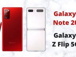 Galaxy-Note-20 в червено Galaxy Z Flip в мистично бяло mystic white