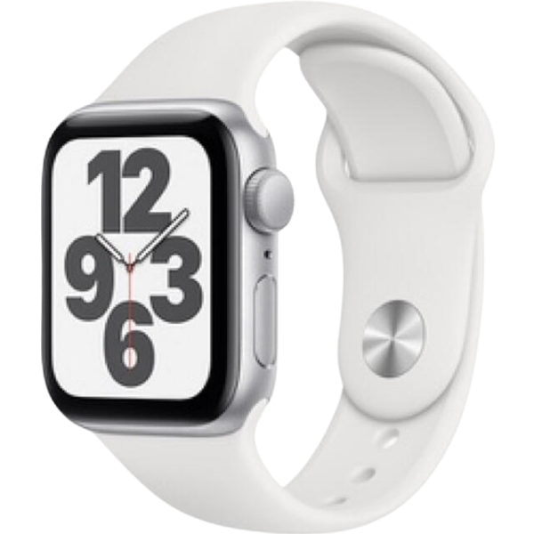 Apple Watch SE, GPS, Корпус Silver Aluminium 40mm, White Sport Band - цена - купи