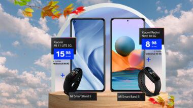 Купете Xiaomi Redmi Note 10 5G и Xiaomi MI 11 LITE 5G с подарък гривната Mi Band 5 от Vivacom през септември с 36-месечен лизинг и план Unlimited 50 & 150.